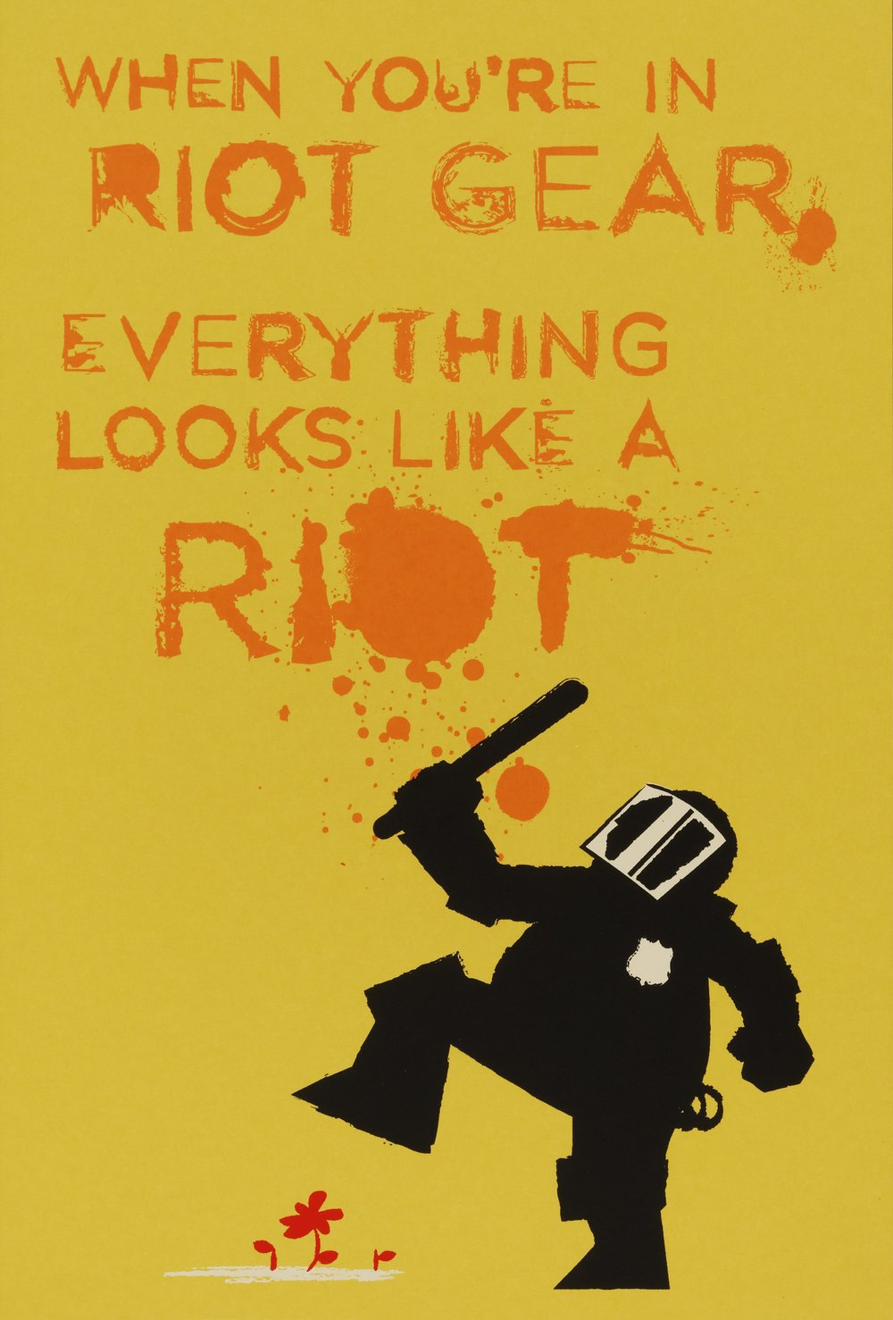 John Emerson, American, born 1973   When in Riot Gear, from the Occuprint Sponsor Portfolio   2012 Screenprint on French paper 18/100 Sheet: 18 1/8 x 12 1/16 in. (46 x 30.7 cm)   Hood Museum of Art, Dartmouth College: Purchased through the Contemporary Art Fund ; 2012.38.16  ©  John Emerson