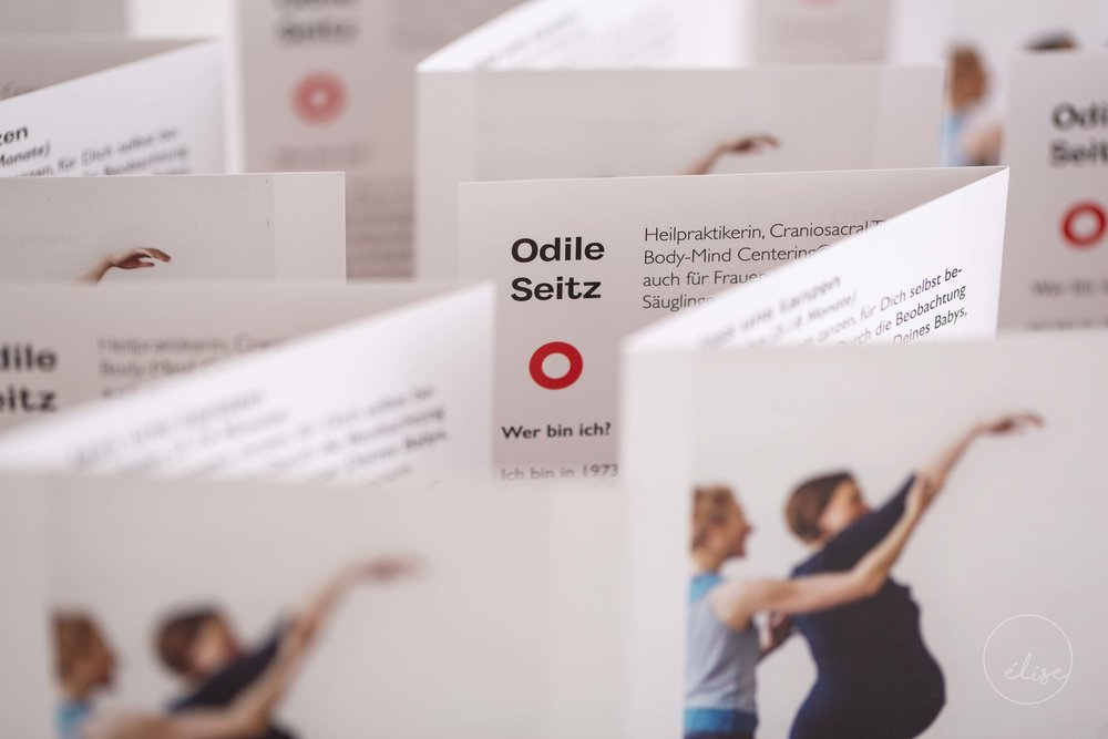 Flyer for Odile Seitz offering classes and sessions for pregnant women and children