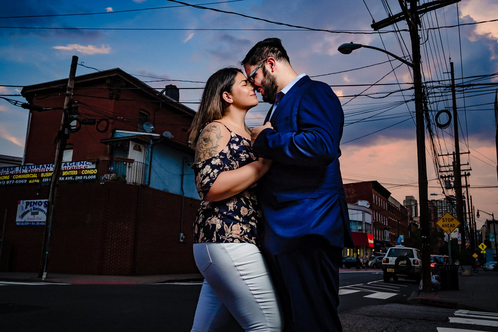 sunset couple portrait
