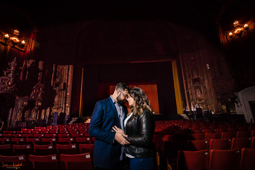 movie theater engagment photos, landmark loews, jersey city