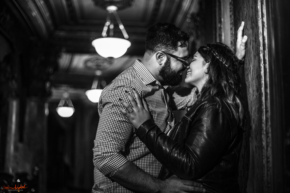epic movie theater engagment photos, landmark loews, jersey city