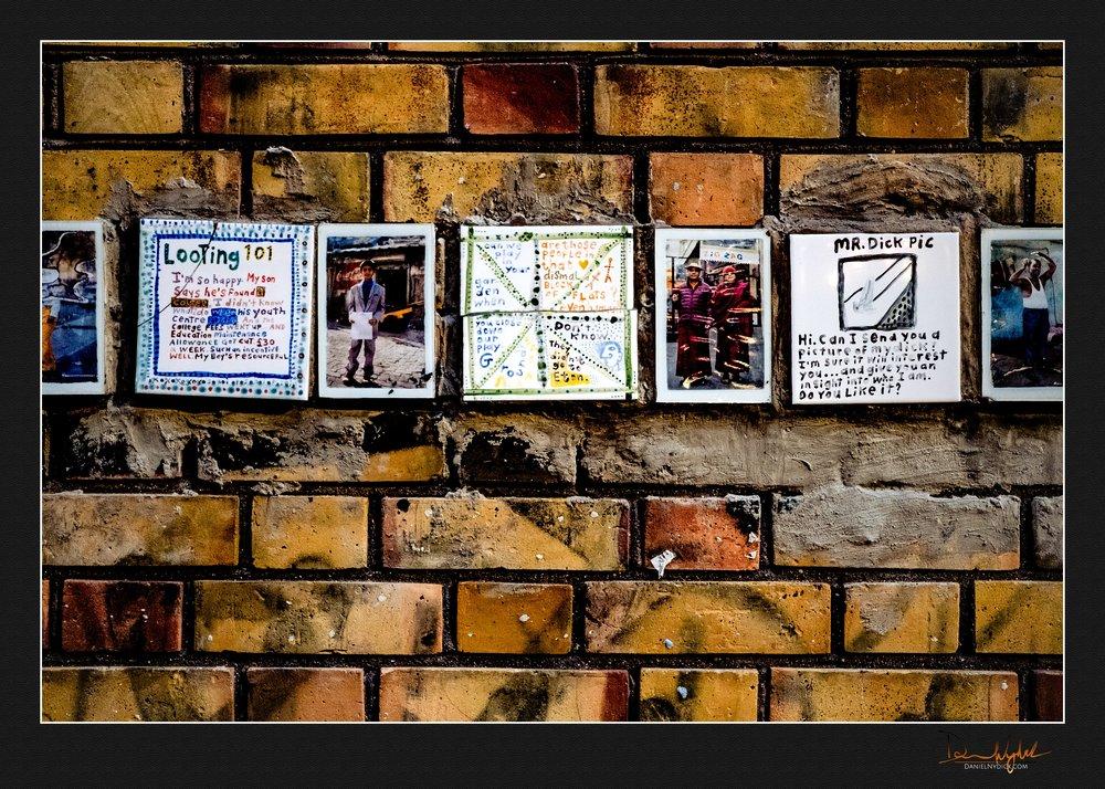 wall, art, brick, tile, don't be a dick