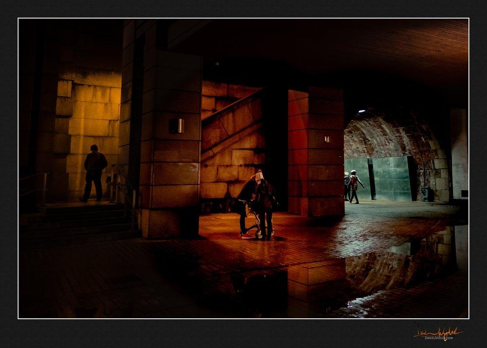 bankside, bridge, tunnel, dark, light, shaddow, street scene