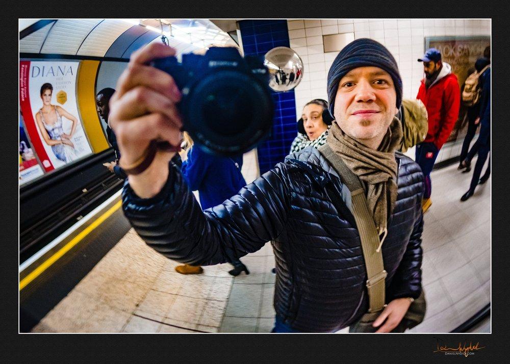 self portrait, tube, london, train,