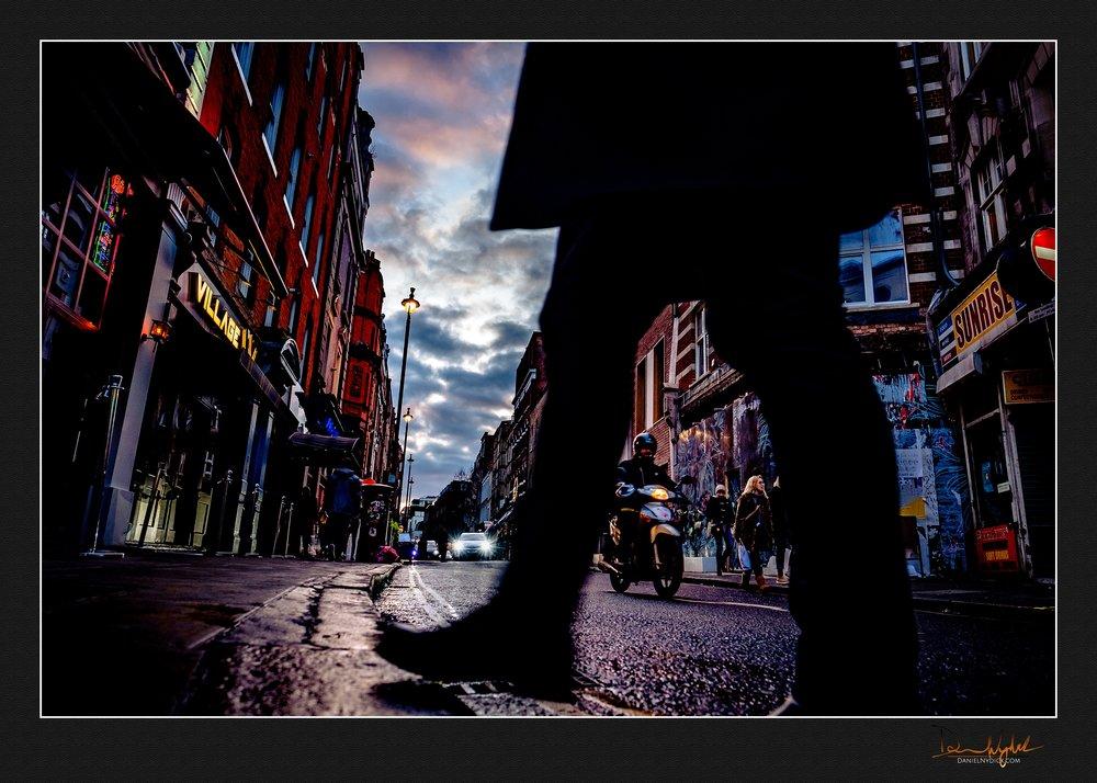 sunset in soho, london, street photography, walking, motorcycle,