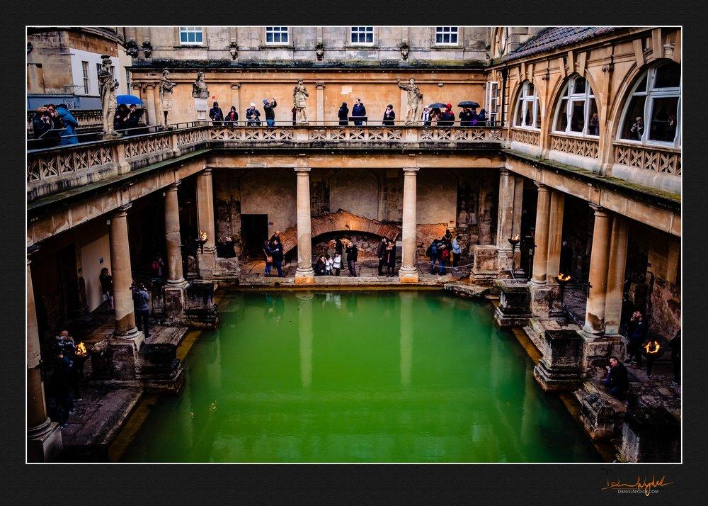 bath, roman baths, water, green, people, tourist