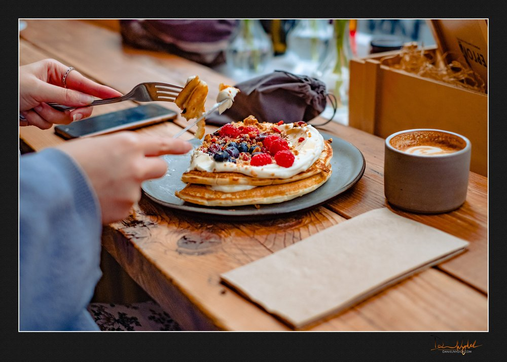pancakes, berries, cappucino, coffee, latte, eating breakfast