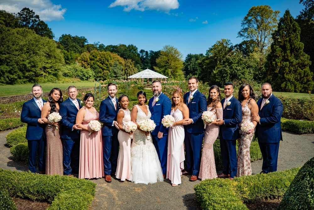 bridesmaids, groomsmen, bridal party, bride and groom at deep cu