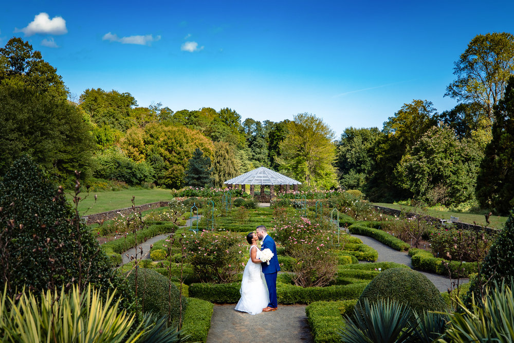 bride and groom portrait at deep cut gardens