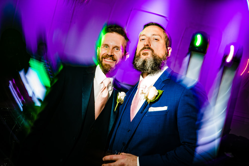 best man and groom shutter drag party