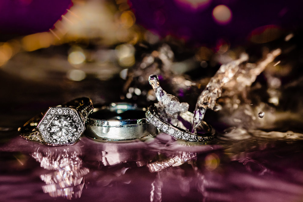 water splash ring shot wedding and engagement rings