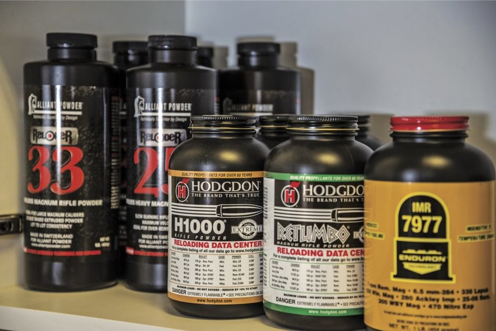 Quality components produce high quality ammunition. If you reload for a couple different calibers, your cabinet may soon start looking like a reloading store shelf.