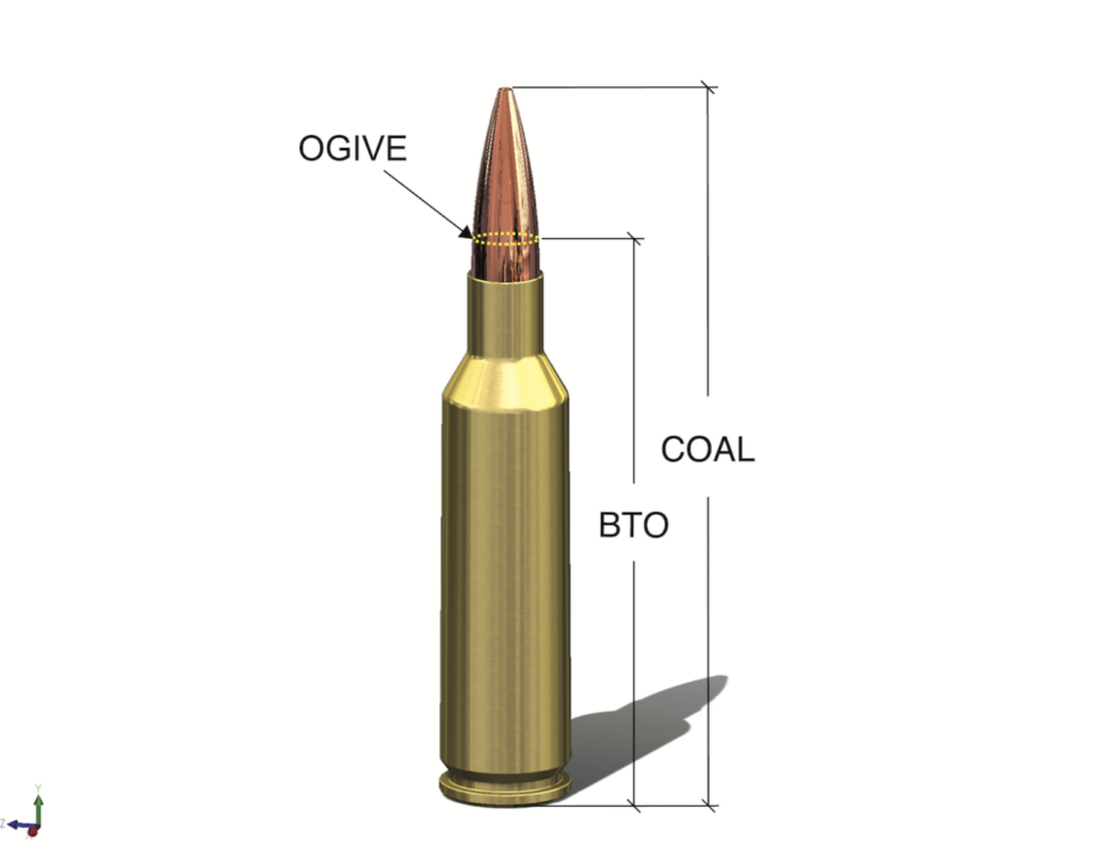 Knowing the freebore length and measuring seating depth from base to ogive (BTO) is the best way to know how far from the lands you're seating the bullet. Freebore – desired distance to the lands (jump) = BTO that you want. Set your seating die accordingly.