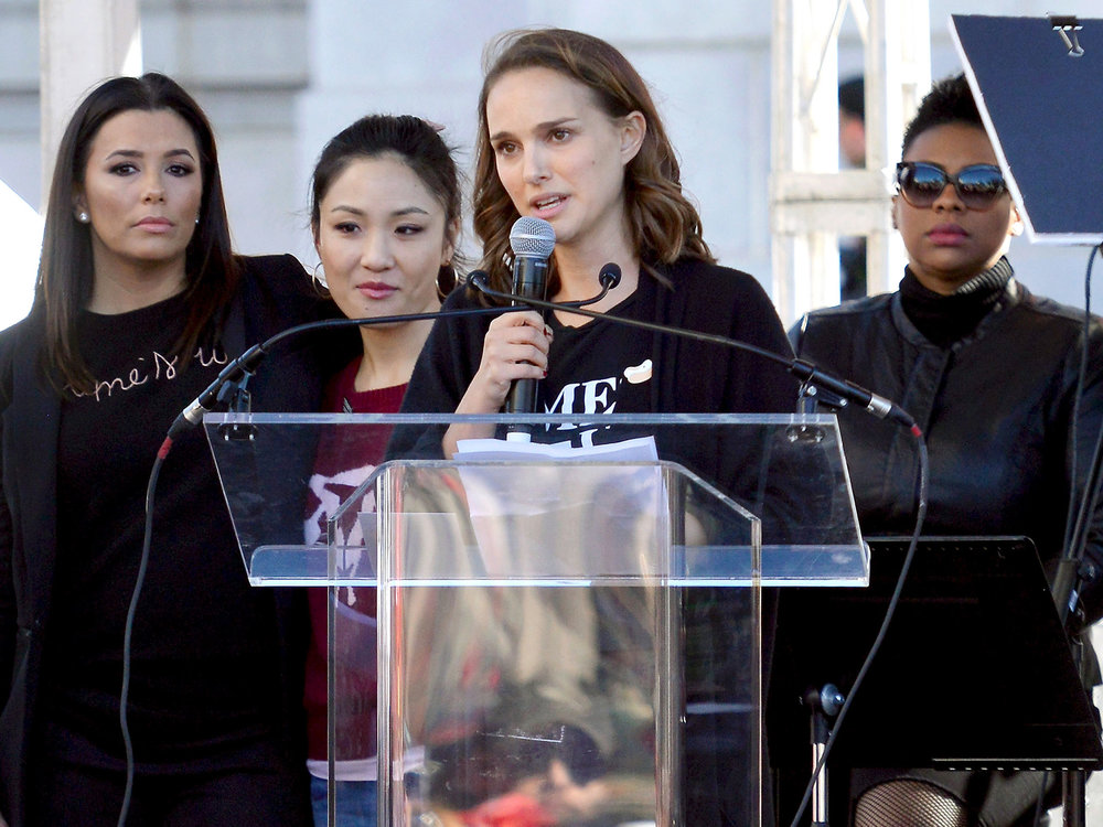 (Natalie Portman giving a speech at the 2018 Women's March in LA.)