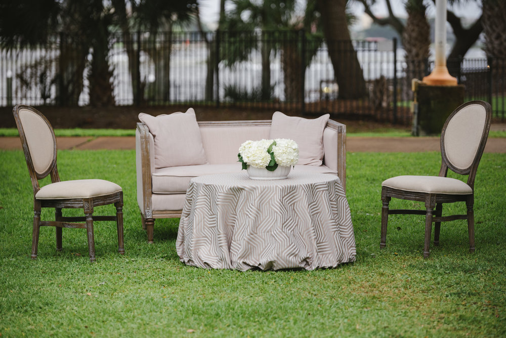 Linen Settee w/ Linen Louie Chairs