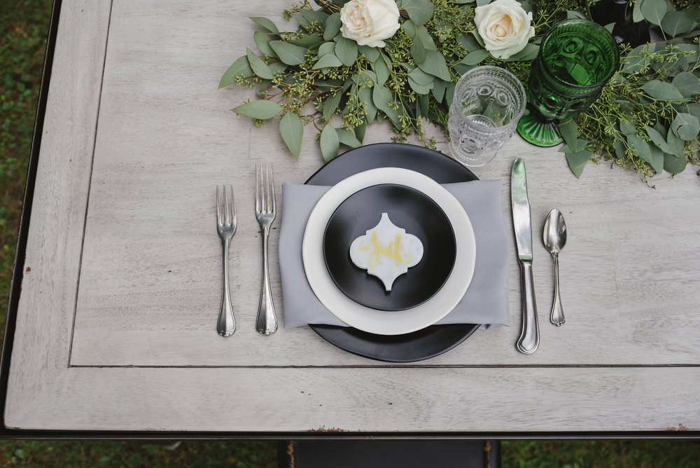 Black & White Heirloom Dinnerware w/ San Marco Flatware