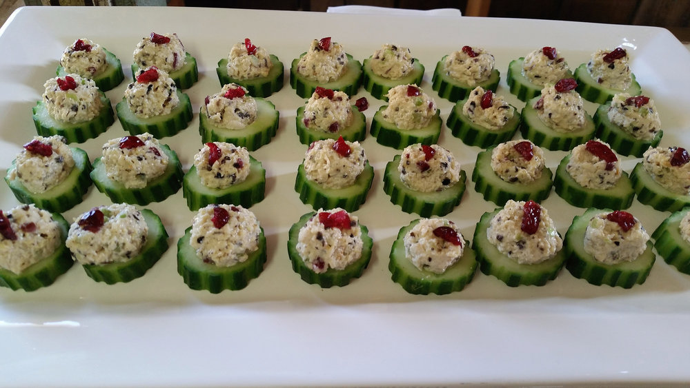 Cucumber Round with Cranberry Chicken Salad