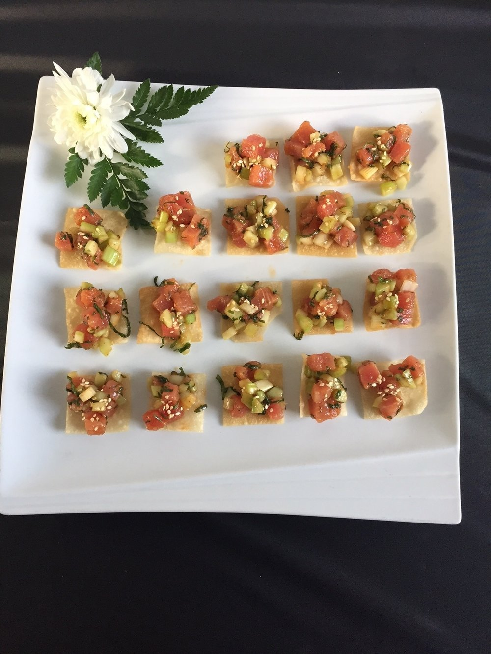 Ahi Poke Tuna on a Wonton Crisp