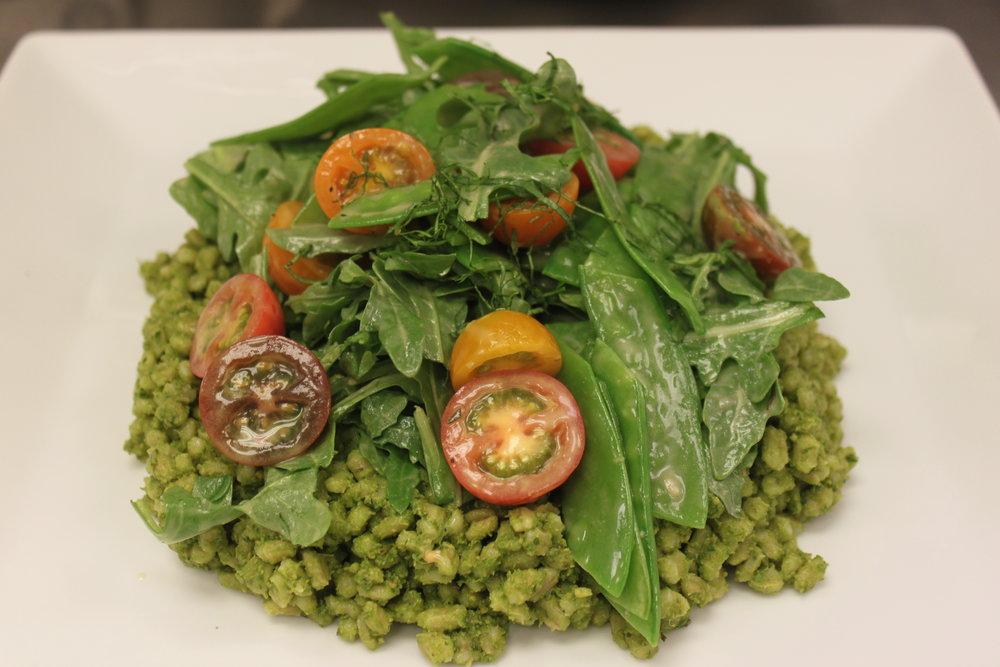 Pesto Barley Arugula Salad