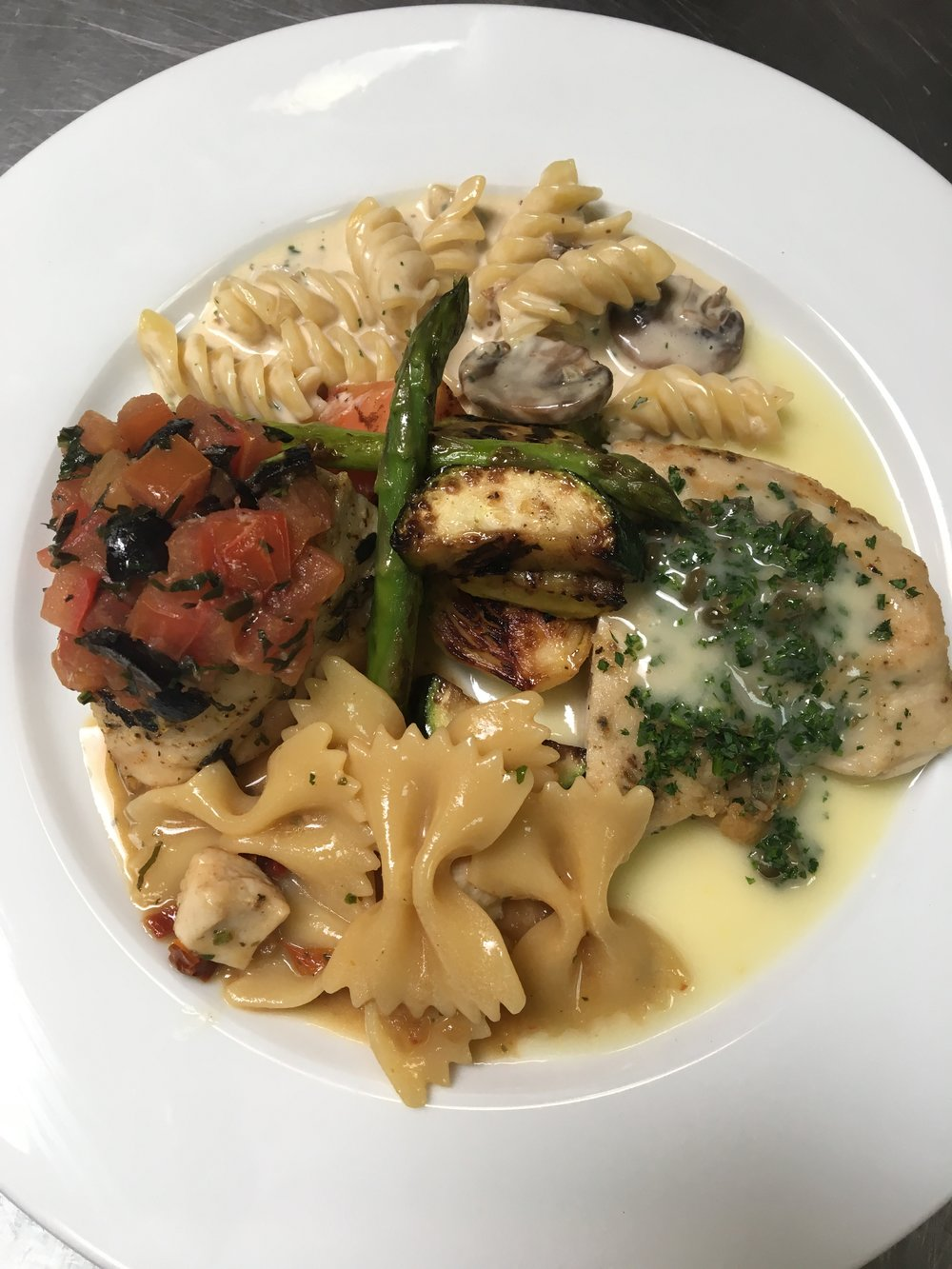 Herb Chicken Breast, Chicken Piccata, Porcini Pasta, Pasta Primavera, and Grilled Vegetables