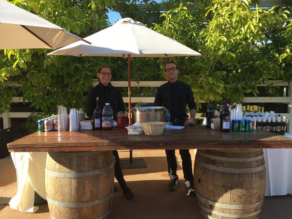 Farmhouse Tabletop on Wine Barrels Bar