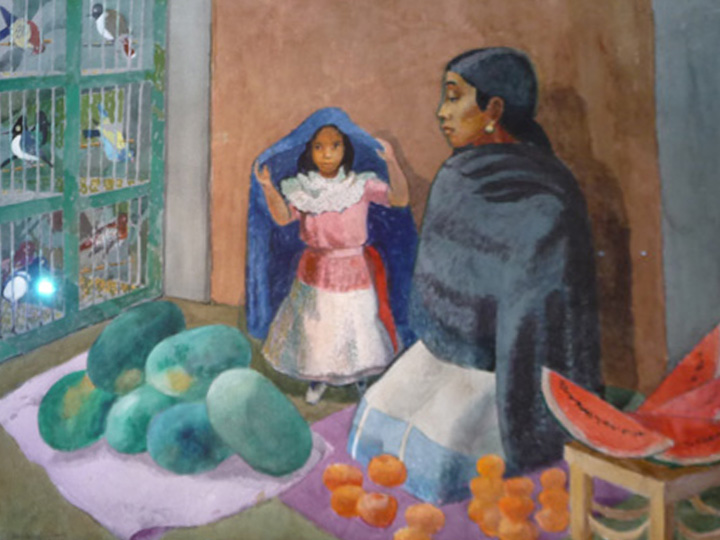 Watermelon Lady, Patzcuaro  Signed and dated lower left: Millard Sheets 1988 (Watercolor on paper, 29 x 41 inches)