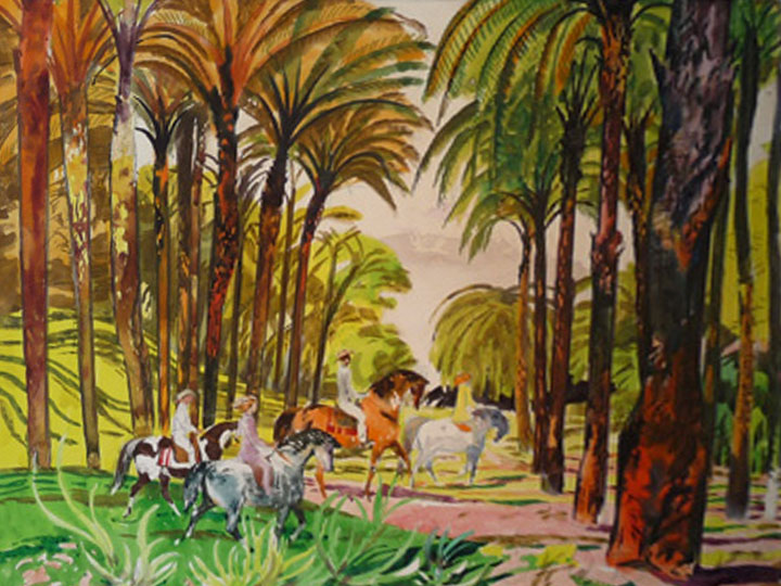 Palm Springs, California  Signed and dated lower center: Millard Sheets 1958 (Watercolor and ink on paper, 22 x 30 inches)