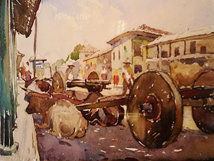 Untitled (Mexican Street with Figures and Carts)  Signed lower left: Millard Sheets (Watercolor on paper, 11.75 x 16.75 inches)
