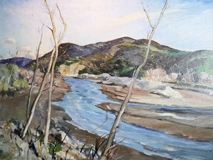 Untitled (Landscape with River) Signed lower left: Millard Sheets Oil on canvas, 32 x 36 inches)