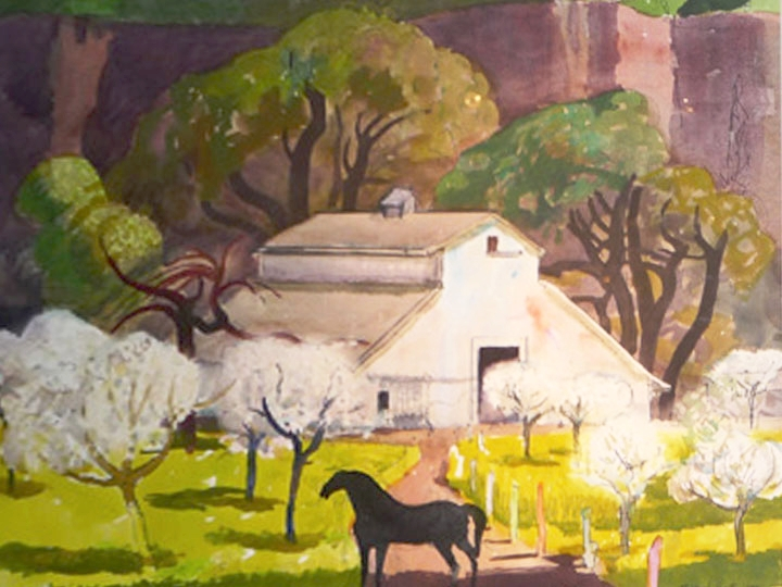 Untitled (Horse and White Barn in a Canyon) Signed and dated lower right: Millard Sheets 1980 (Watercolor and ink on paper, 20.5 x 28.5 inches)