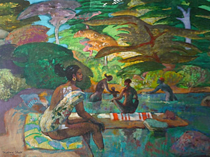 African Bathers Signed and dated lower right: Millard Sheets 1985;(Mixed Media on paper, 24 x 30 inches)