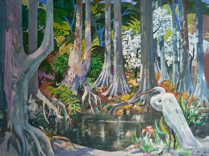 Untitled (Tropical Landscape with Crane) Signed lower right: Millard Sheets (Watercolor on paper, 24 x 30 inches)
