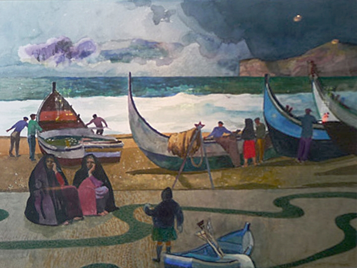 Nazare Signed and dated lower left: Millard Sheets 1988 (Watercolor on paper, 28.75 x 39.75 inches)