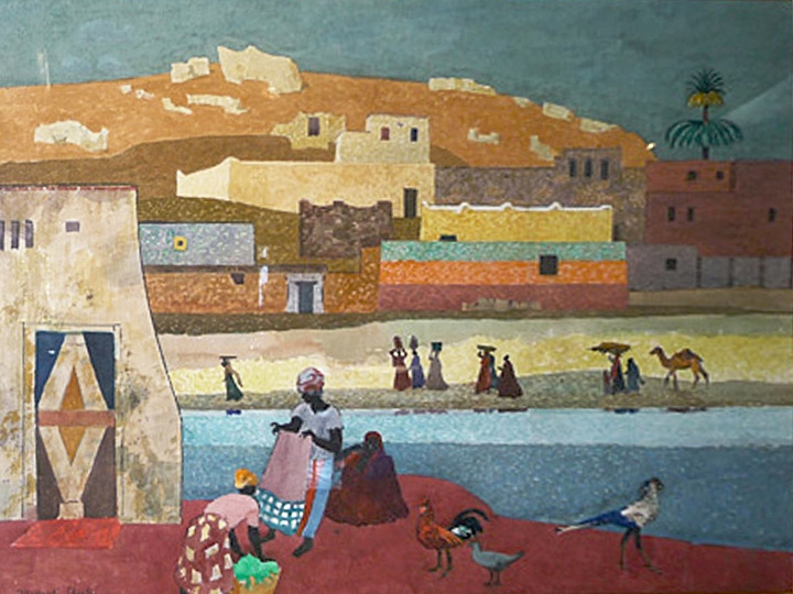 Untitled (Figures near a River, Africa) Signed and dated lower left: Millard Sheets 1988 (Watercolor on paper, 28.25 x 30 inches)