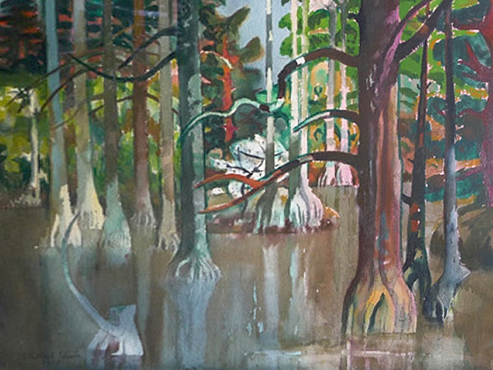 Untitled (Tropical Landscape)  Signed and dated lower left: Millard Sheets 1975 (Watercolor on paper, 22 x 30 inches)