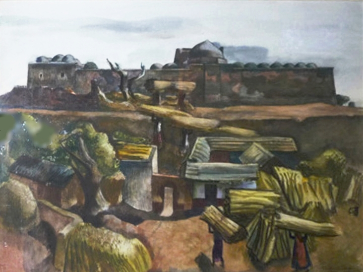 Untitled (Village in India)  Signed, dated and inscribed lower right (Watercolor on paper, 11.75 x 17.75 inches)