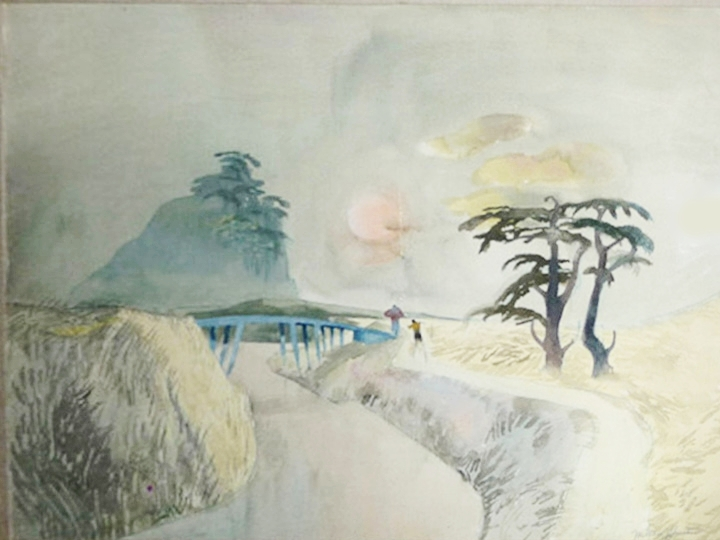 Japanese Mist, No. 17  Signed and dated lower right: Millard Sheets 1949 (Watercolor and ink, paper, 22 x 30 inches)