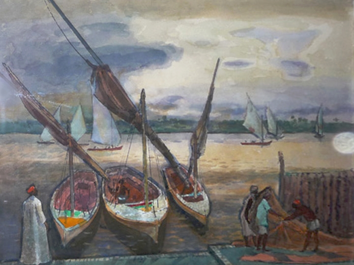 Feluccas Fisherman on the Nile  Signed and dated lower left: Millard Sheets 1986 (Watercolor on paper, 22 x 30 inches)