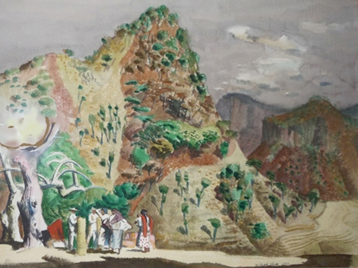 Untitled (Mexican Landscape with Figures Signed and dated lower right: Millard Sheets 1949 (Watercolor on paper, 22 x 30 inches)