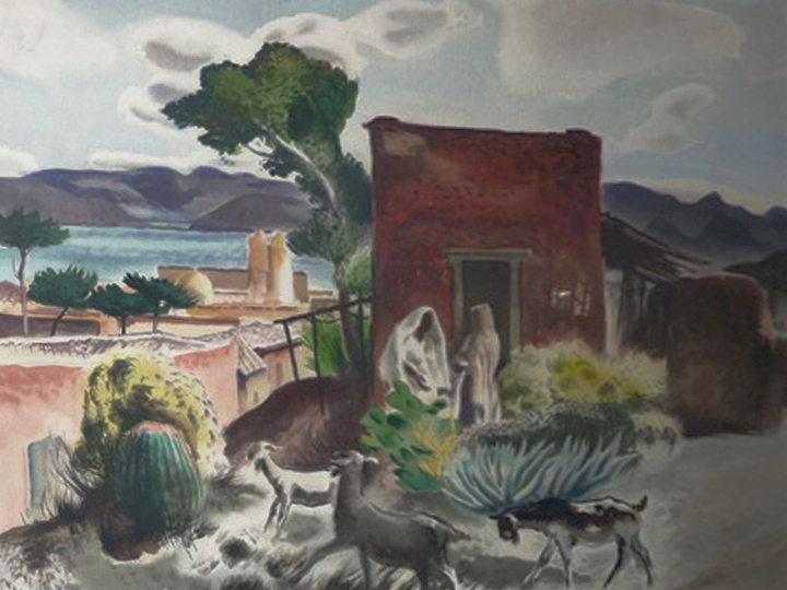 Untitled (Goat Farmer, Mexico)  Signed lower right: Millard Sheets (Watercolor on paper, 21 x 29 inches)
