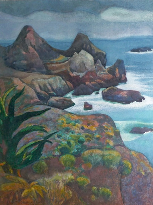 Rocks of Big Sur Signed and dated: Millard Sheets 1977 (Watercolor on paper, 30 x 22 inches)