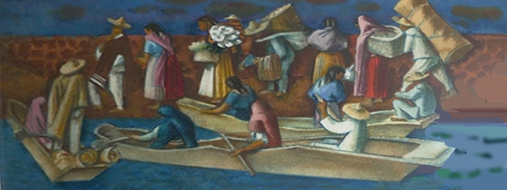 Market Bound (Circa 1950) Signed lower right: Millard Sheets Watercolor on paper, 10.75 x 23.25 inches)
