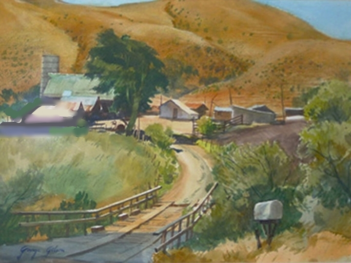 Across the Creek, by George Gibson Signed and dated lower left: George Gibson(Watercolor on paper, 18 x 24 inches)