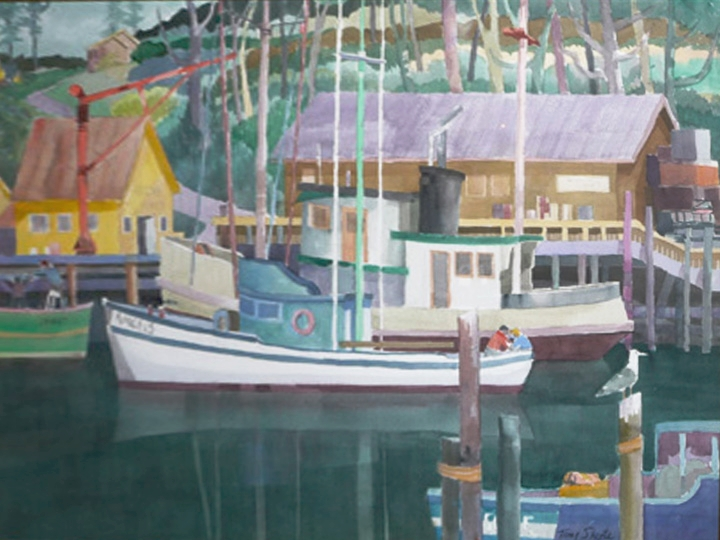 Noyo River Fishing Boats, by Tony Sheets Signed and dated lower right: Tony Sheets 2001 (Watercolor on paper, 22 x 30 inches)