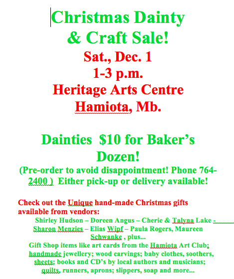 Christmas Dainty & Craft Sale! — Mid West Arts Council