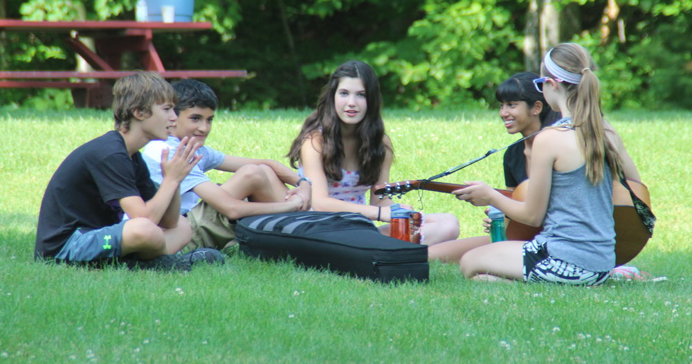 Campers Hanging out w:guitar.JPG