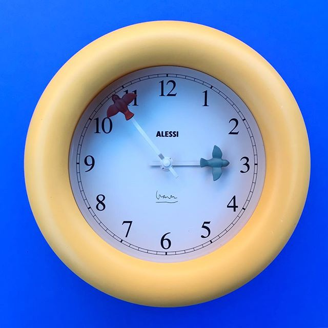 "Q.) What did the watch say to the clock?  A.) Hour you doin?! Get it?! Dumb! 🤷🏻‍♂️ #MichaelGraves for #Alessi ""Time Flies"" clock circa 1987! #ODDEYENYC"