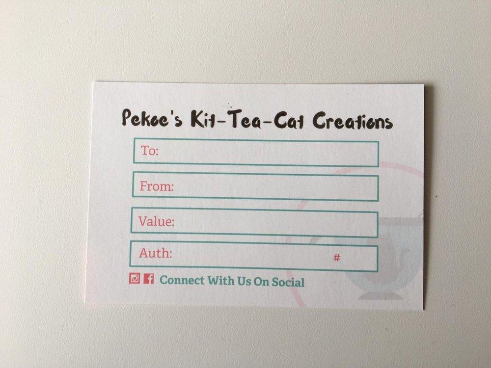 Pekoe's Kit-Tea-Cat Creations Gift Certificate