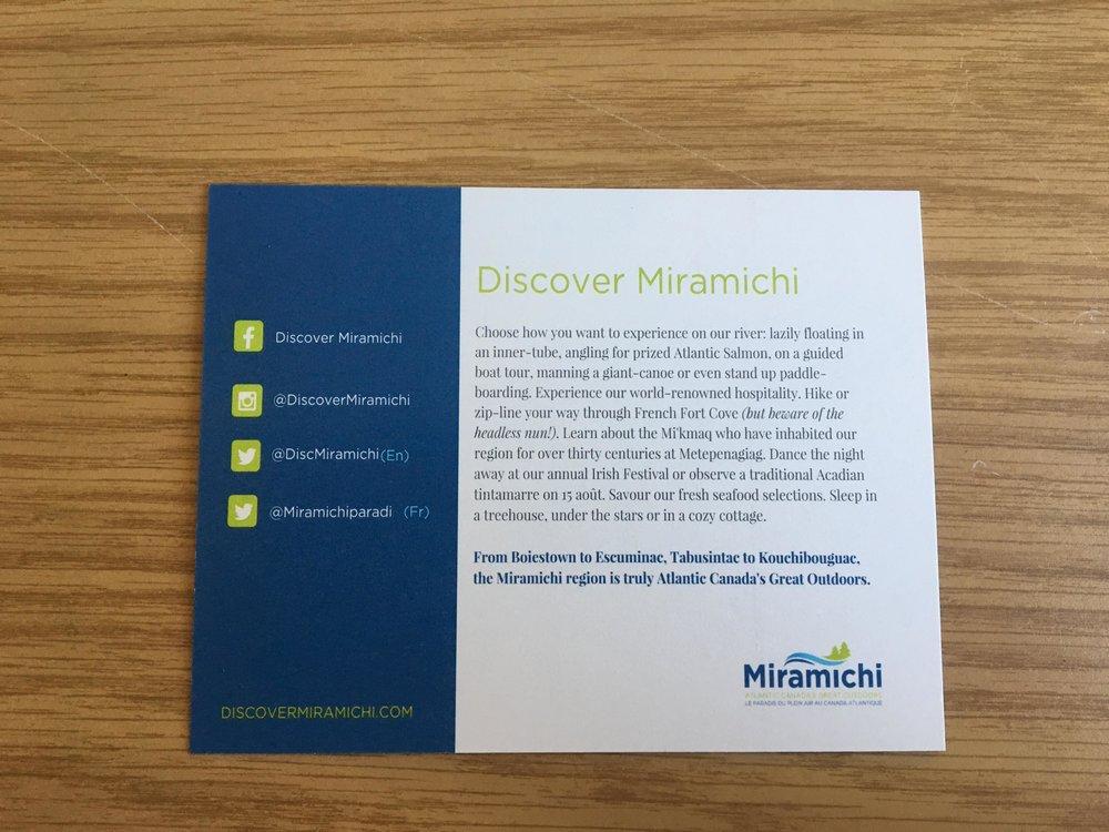 discover miramichi postcard reverse