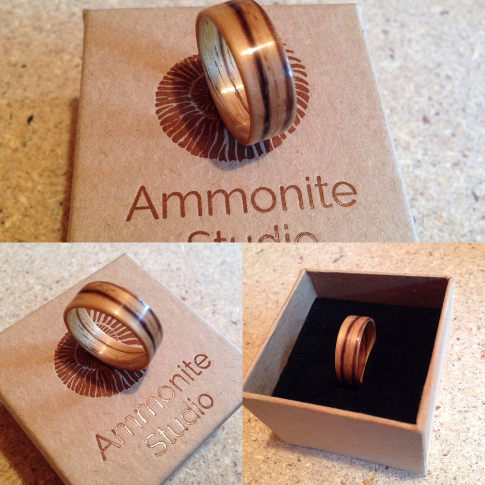A bentwood ring made from zebrano